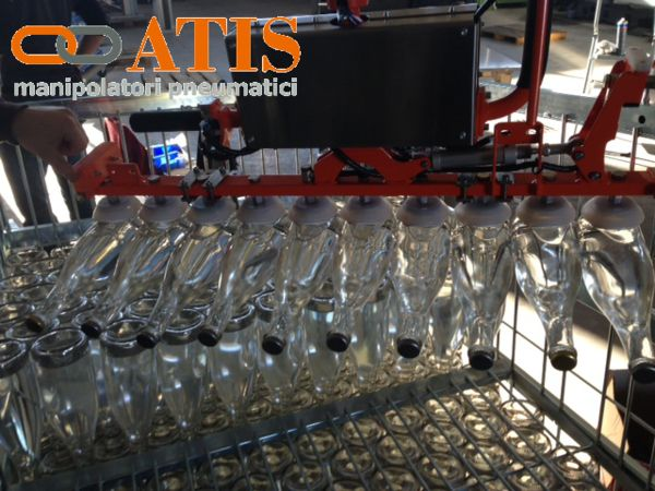 ATISacer pneumatic manipulator with ropes. Gripping tool with suction cups for sparkling wine bottles