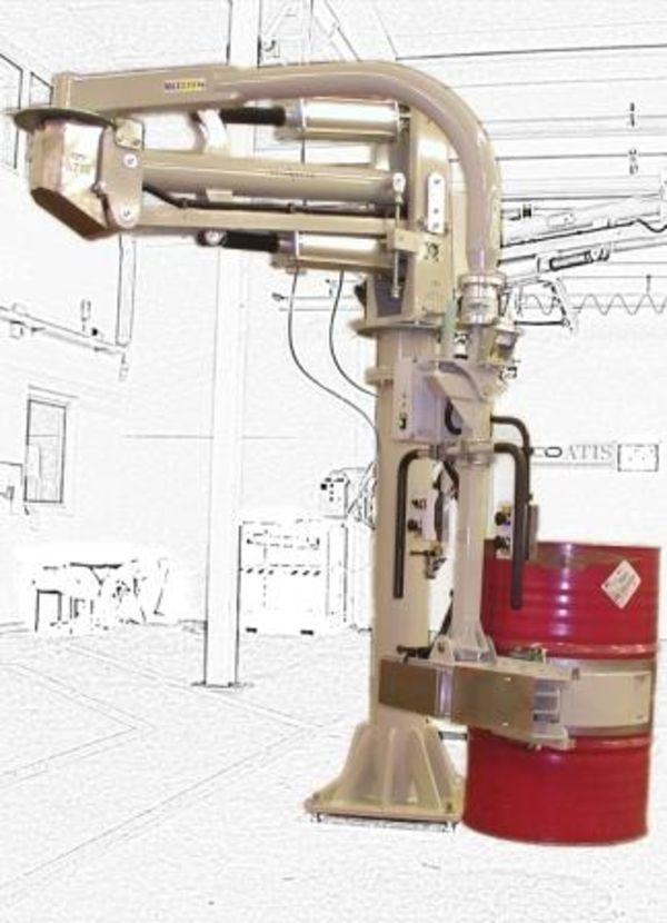 Pneumatic manipulator for 270 kg drums