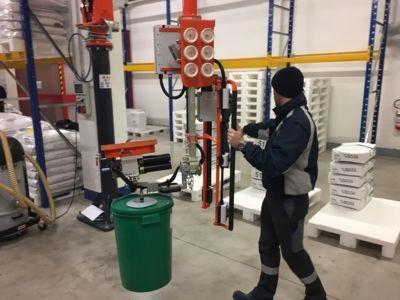 azzeratore di peso ATIS ad azionamento pneumatico per fusti